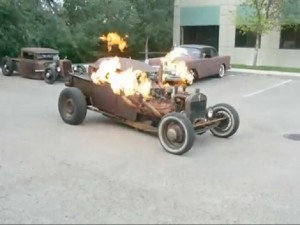 exhaust flame on a v8 rat rod